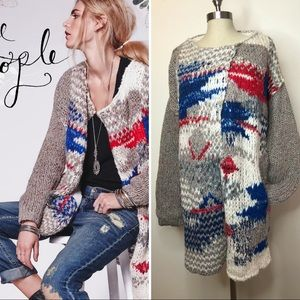 Free People fireworks cardigan long knit chunky Lg